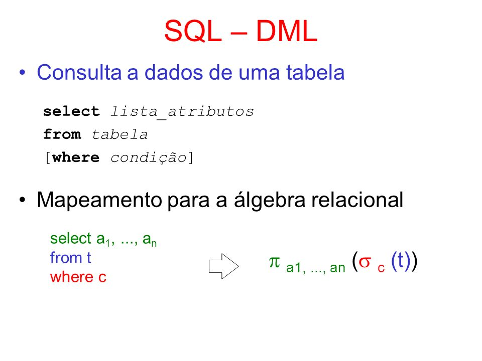 SQL – DML Consulta a dados de uma tabela