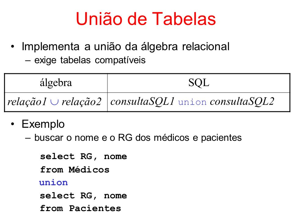 União de Tabelas select RG, nome