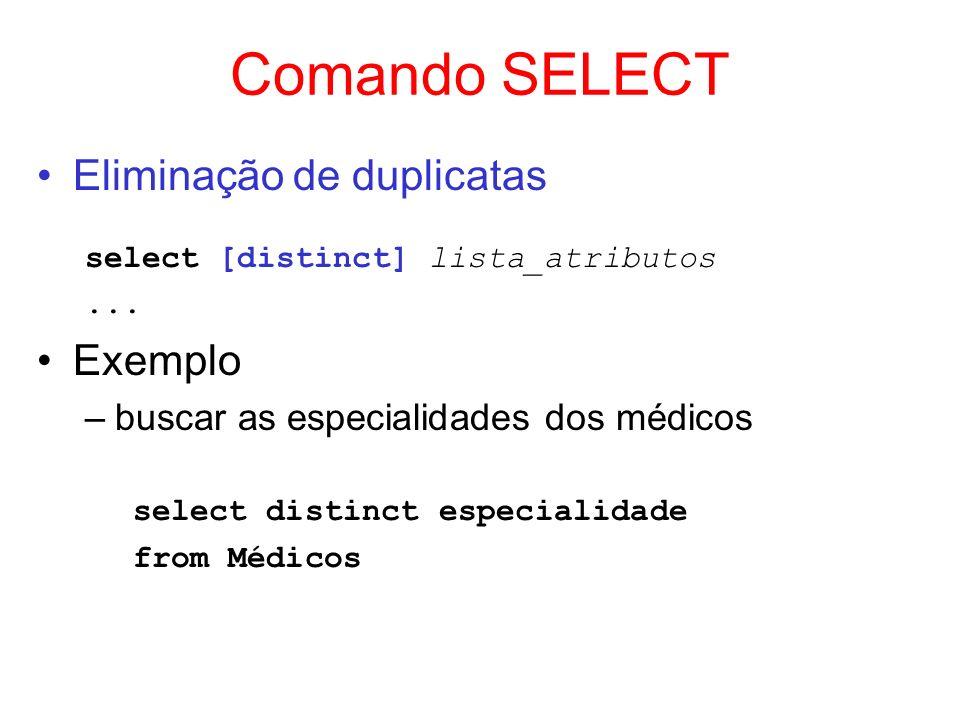 Comando SELECT Eliminação de duplicatas Exemplo