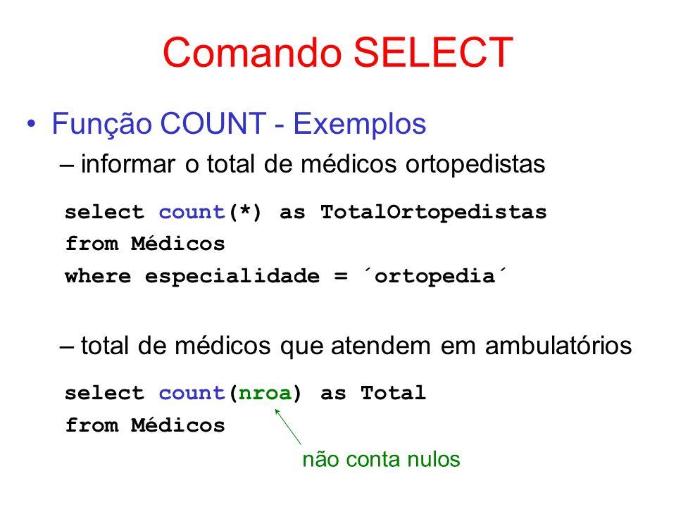 Comando SELECT Função COUNT - Exemplos