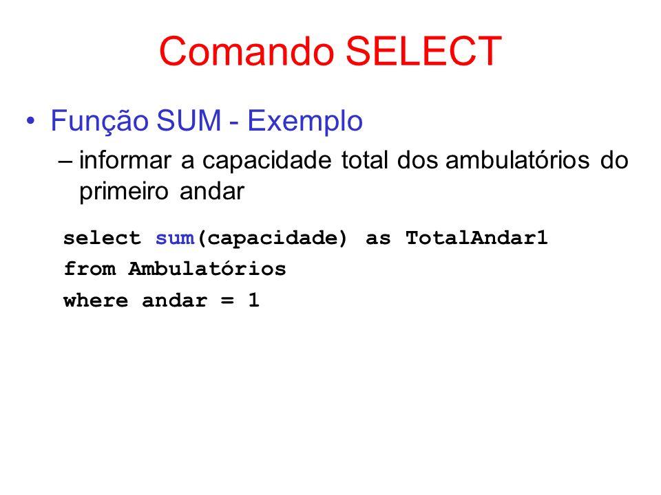 Comando SELECT Função SUM - Exemplo