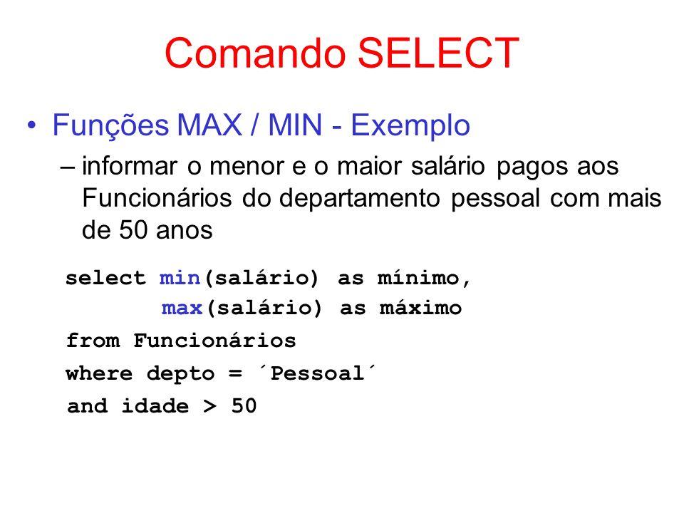 Comando SELECT Funções MAX / MIN - Exemplo