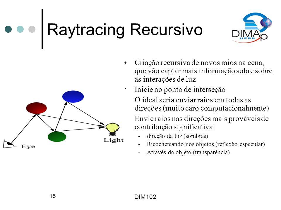 Raytracing Recursivo Criação recursiva de novos raios na cena, que vão captar mais informação sobre sobre as interações de luz.