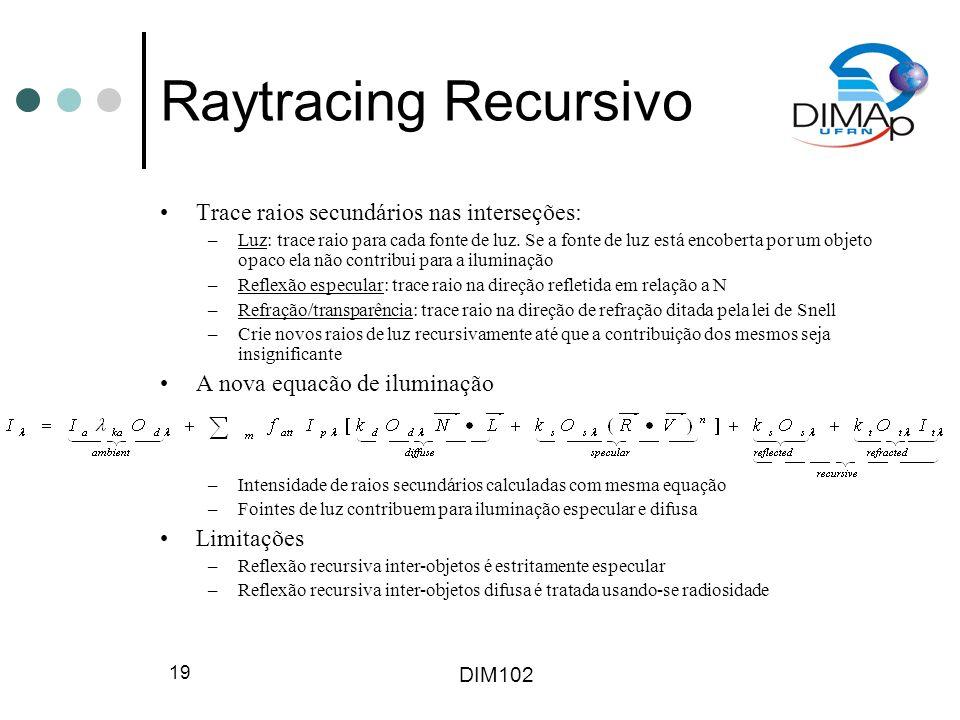 Raytracing Recursivo Trace raios secundários nas interseções: