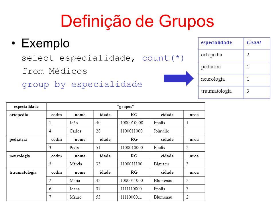 Definição de Grupos Exemplo from Médicos group by especialidade