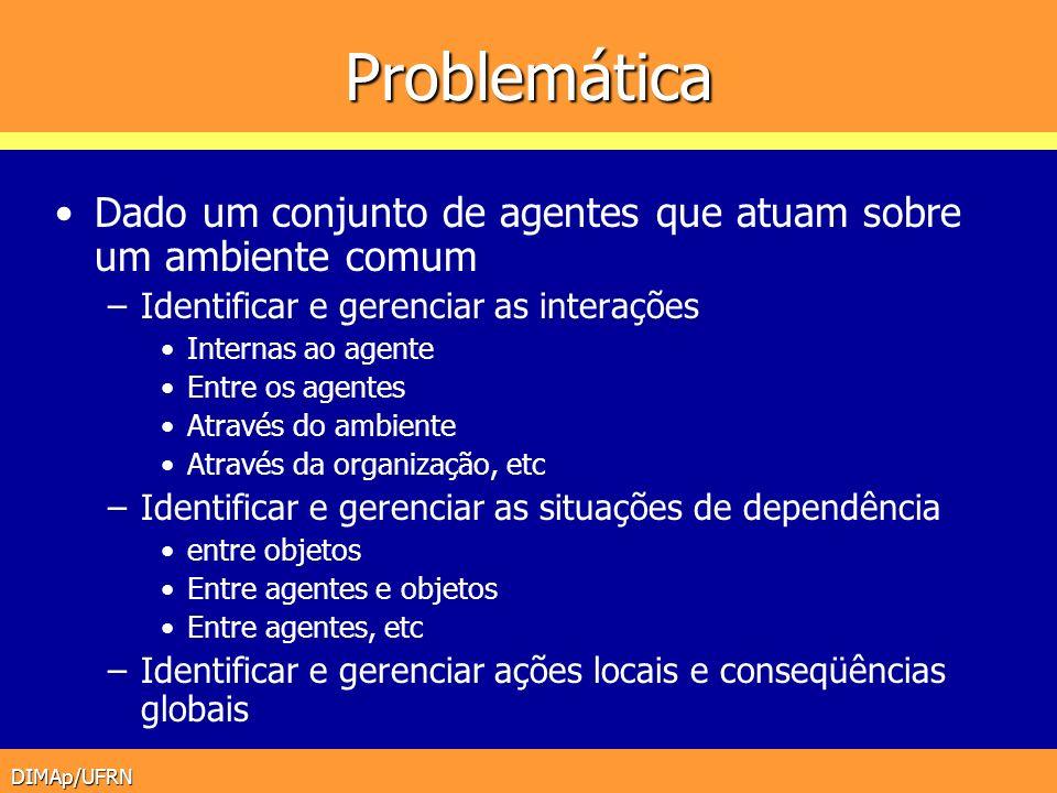 Problemática Dado um conjunto de agentes que atuam sobre um ambiente comum. Identificar e gerenciar as interações.