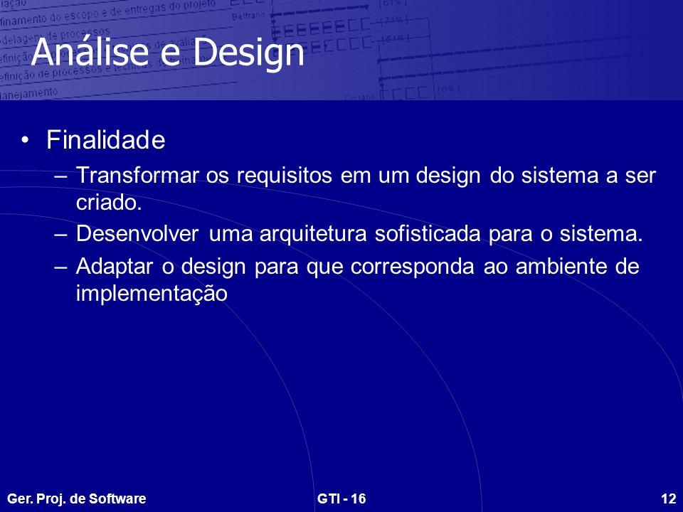 Análise e Design Finalidade