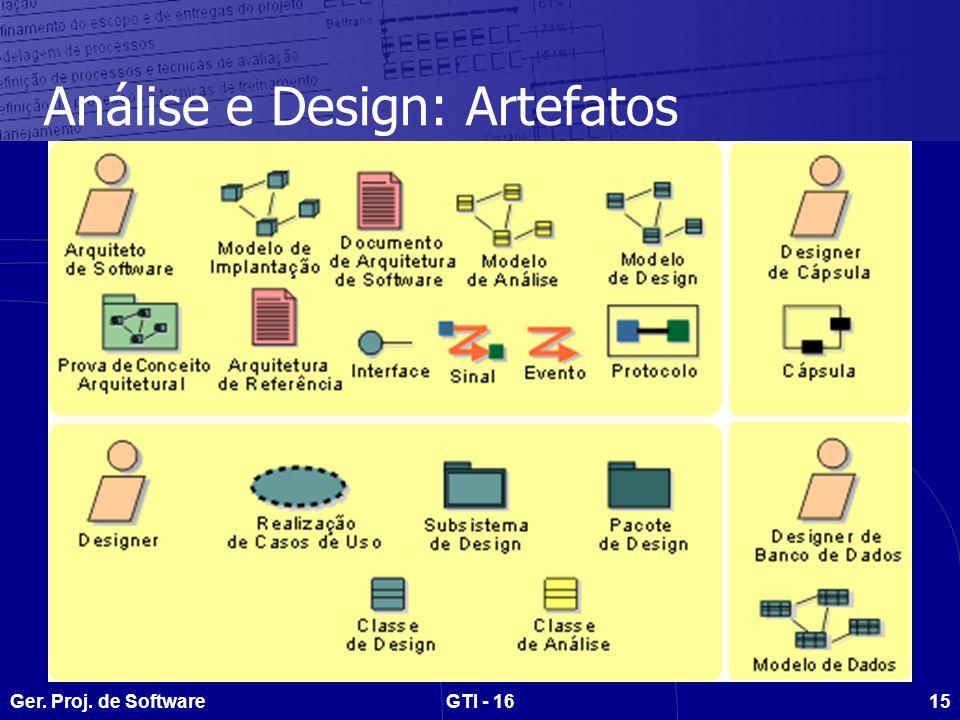 Análise e Design: Artefatos