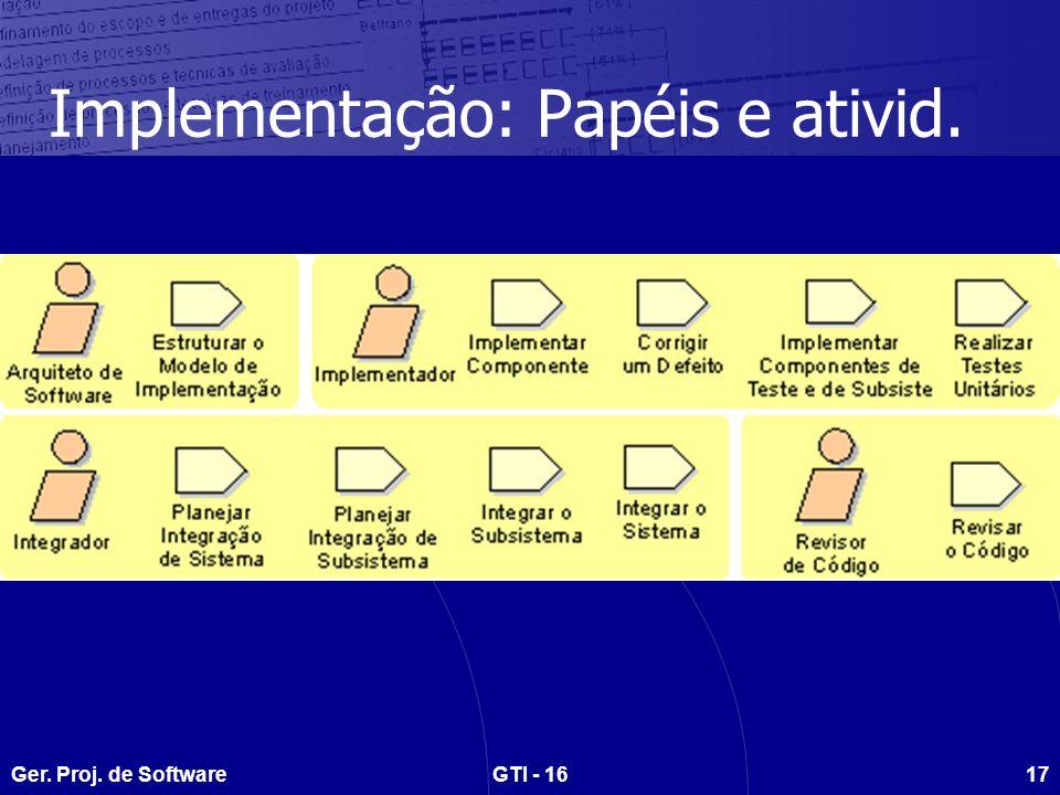 Implementação: Papéis e ativid.