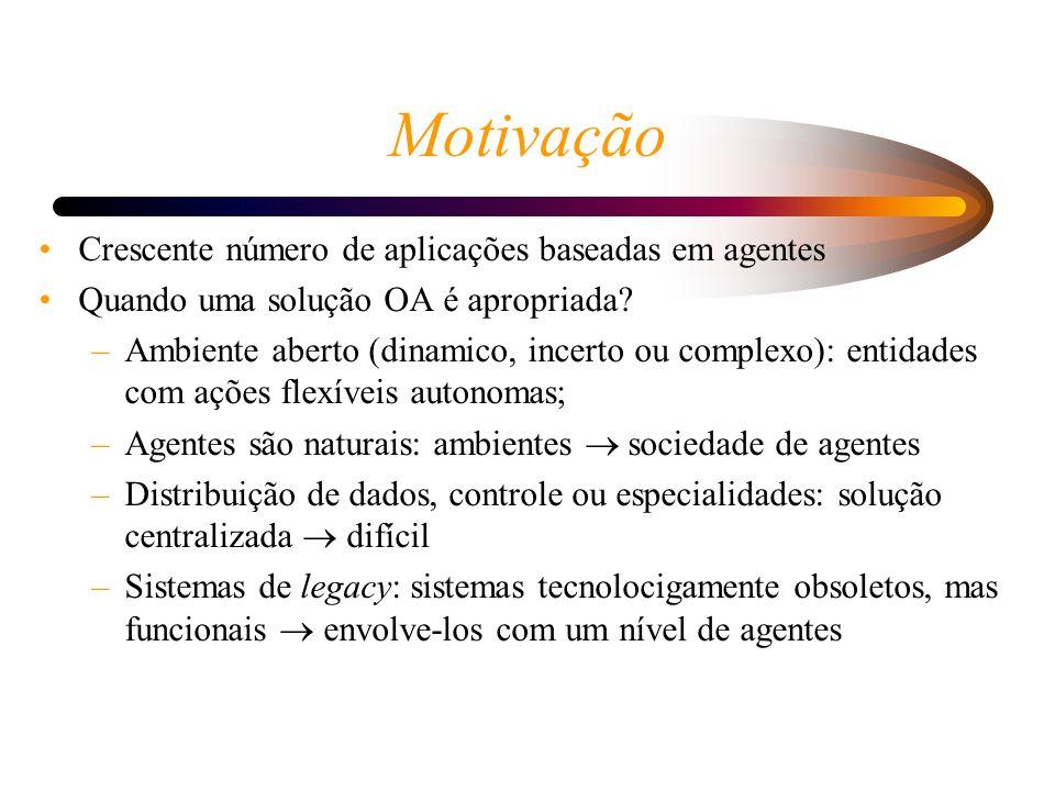 Motivação Crescente número de aplicações baseadas em agentes