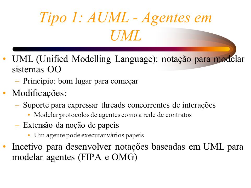 Tipo 1: AUML - Agentes em UML