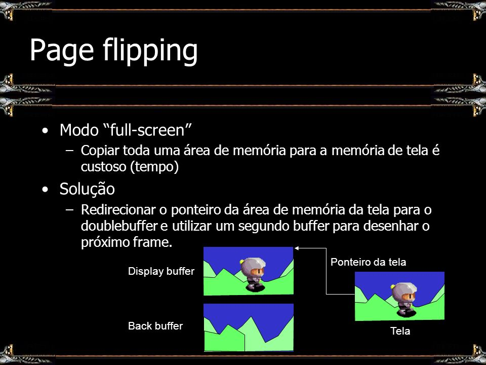 Page flipping Modo full-screen Solução