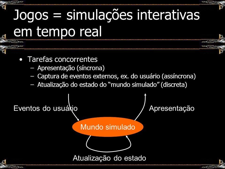 Jogos = simulações interativas em tempo real