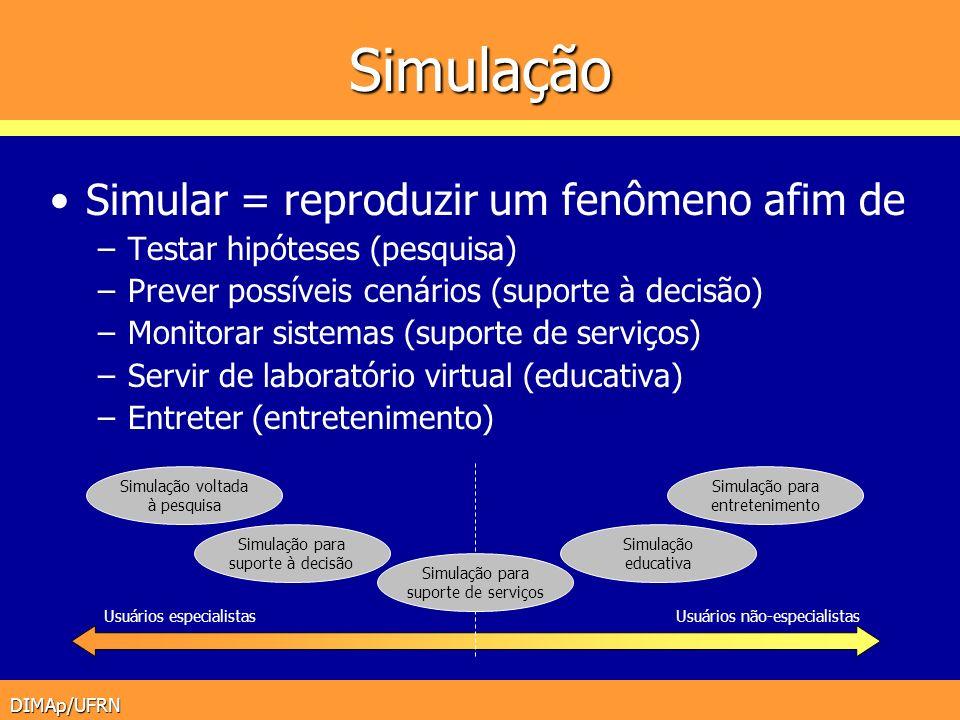 Simulação Simular = reproduzir um fenômeno afim de