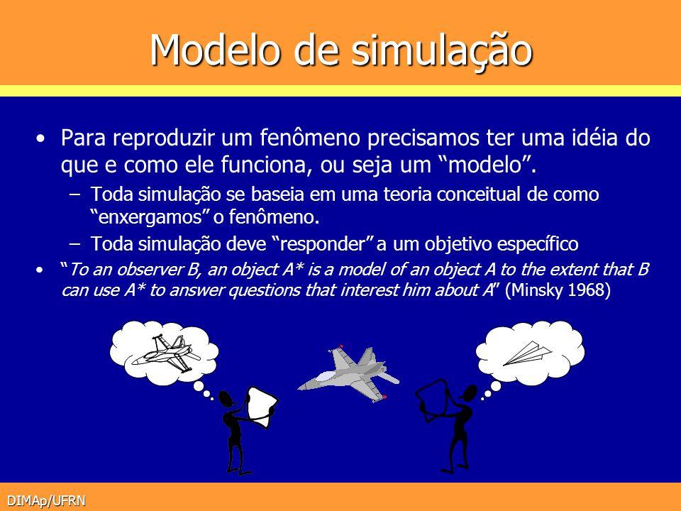 Modelo de simulação Para reproduzir um fenômeno precisamos ter uma idéia do que e como ele funciona, ou seja um modelo .