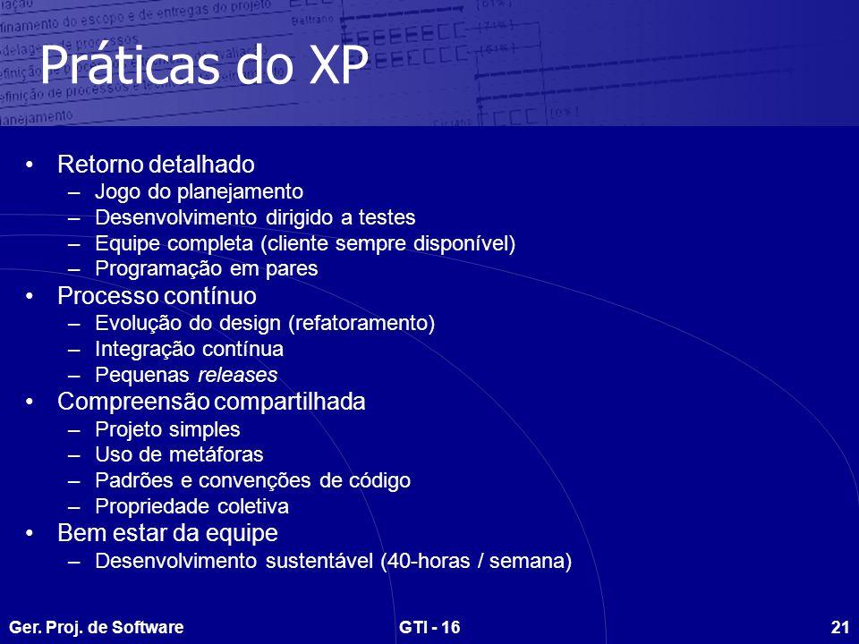 Práticas do XP Retorno detalhado Processo contínuo