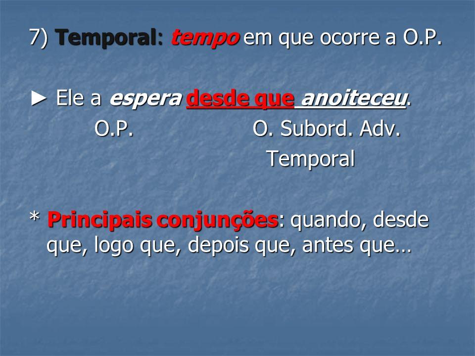 7) Temporal: tempo em que ocorre a O.P.