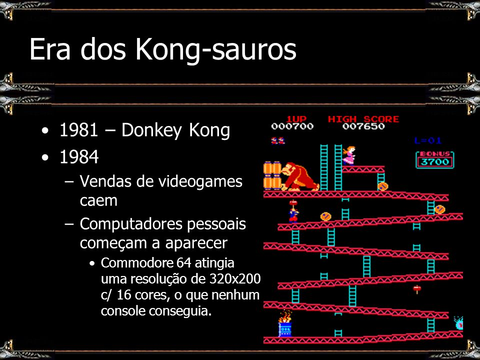 Era dos Kong-sauros 1981 – Donkey Kong 1984 Vendas de videogames caem