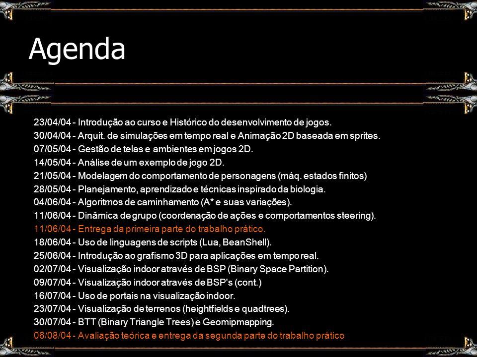 Agenda 23/04/04 - Introdução ao curso e Histórico do desenvolvimento de jogos.