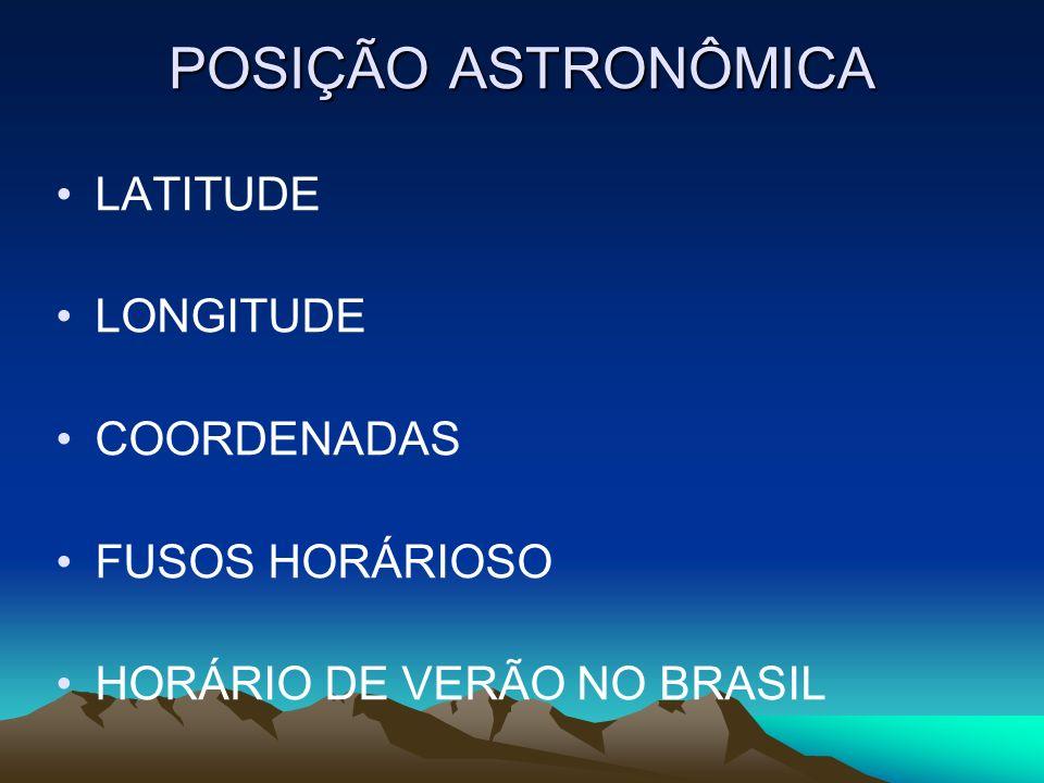 POSIÇÃO ASTRONÔMICA LATITUDE LONGITUDE COORDENADAS FUSOS HORÁRIOSO
