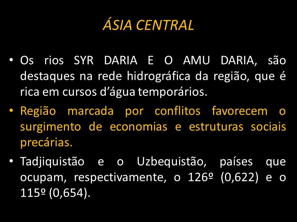 ÁSIA CENTRAL Os rios SYR DARIA E O AMU DARIA, são destaques na rede hidrográfica da região, que é rica em cursos d'água temporários.