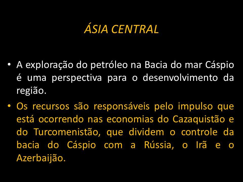 ÁSIA CENTRALA exploração do petróleo na Bacia do mar Cáspio é uma perspectiva para o desenvolvimento da região.