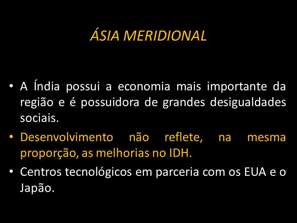 ÁSIA MERIDIONAL A Índia possui a economia mais importante da região e é possuidora de grandes desigualdades sociais.