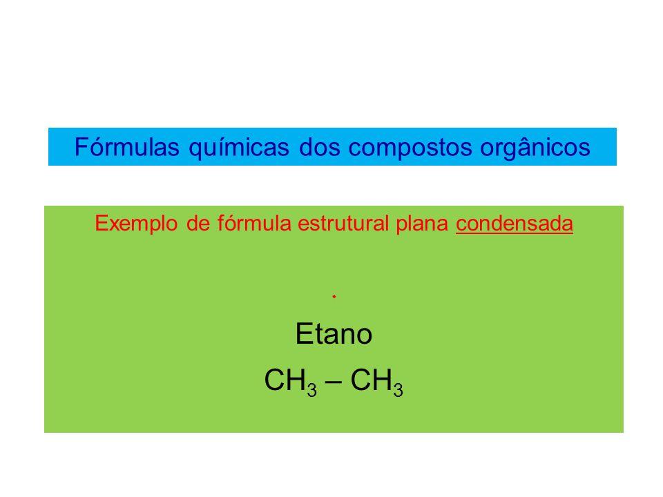Etano CH3 – CH3 Fórmulas químicas dos compostos orgânicos