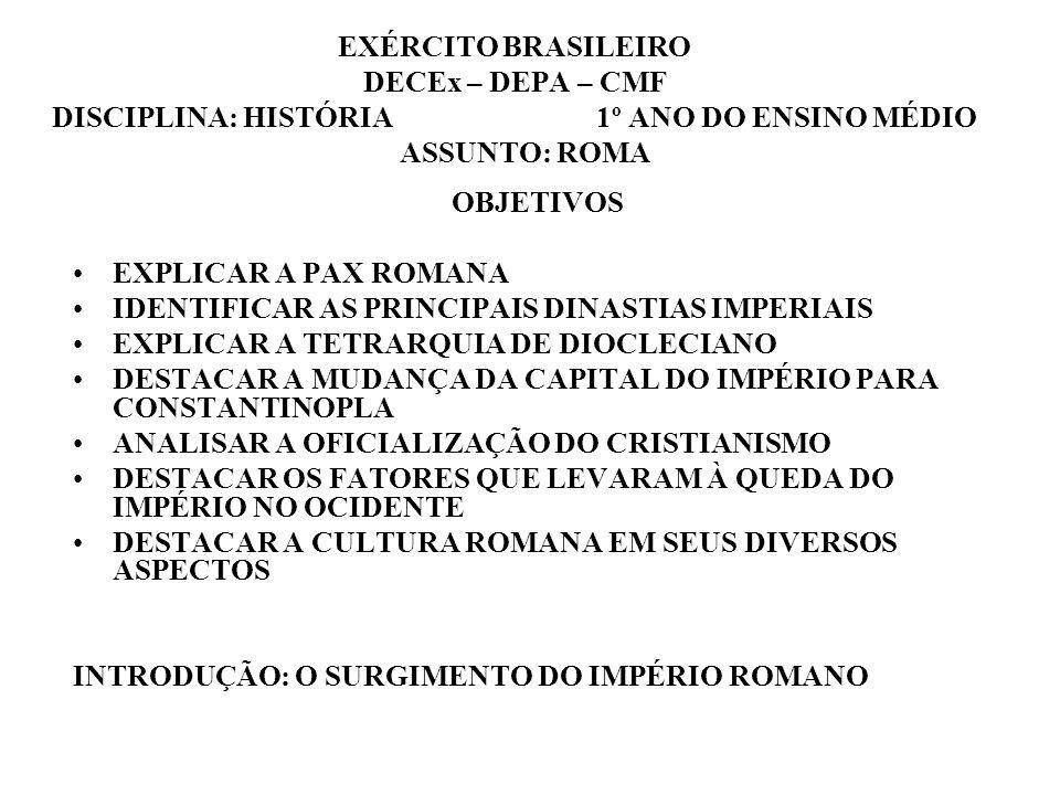 EXÉRCITO BRASILEIRO DECEx – DEPA – CMF DISCIPLINA: HISTÓRIA 1º ANO DO ENSINO MÉDIO ASSUNTO: ROMA