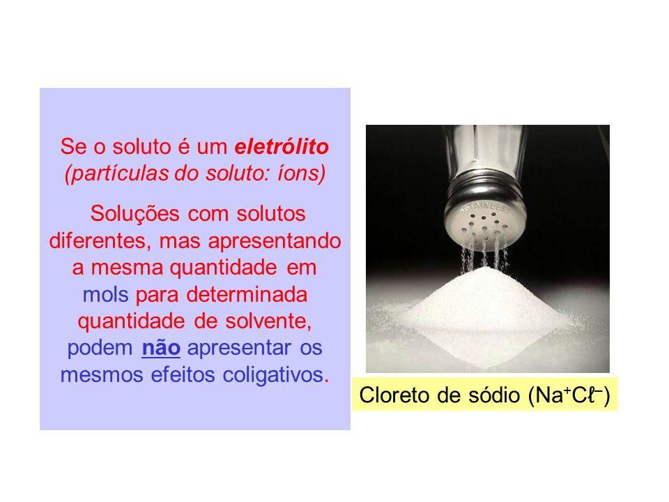 Se o soluto é um eletrólito (partículas do soluto: íons)