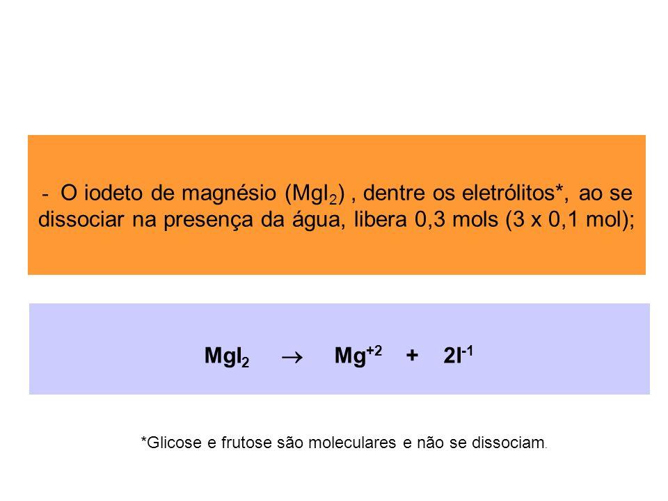O iodeto de magnésio (MgI2) , dentre os eletrólitos