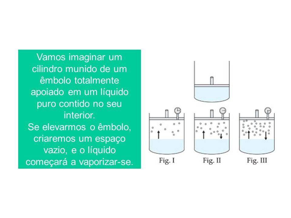 Vamos imaginar um cilindro munido de um êmbolo totalmente apoiado em um líquido puro contido no seu interior.