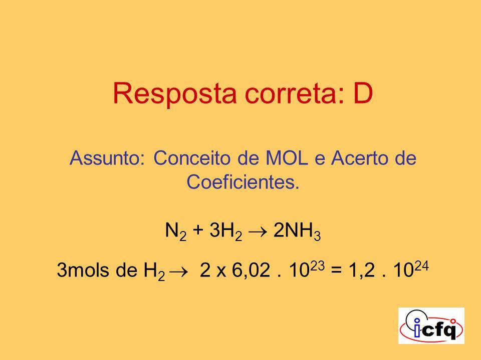 Resposta correta: D Assunto: Conceito de MOL e Acerto de Coeficientes