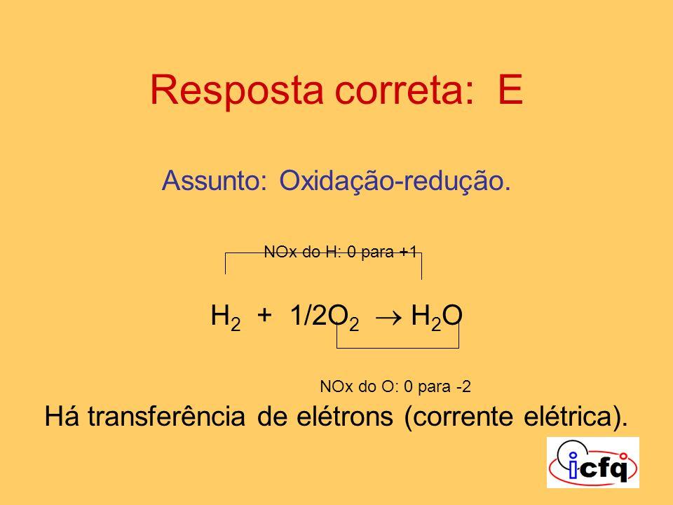 Resposta correta: E Assunto: Oxidação-redução