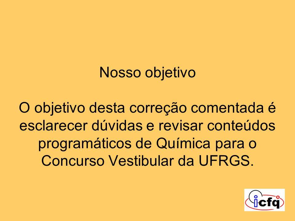 Nosso objetivo O objetivo desta correção comentada é esclarecer dúvidas e revisar conteúdos programáticos de Química para o Concurso Vestibular da UFRGS.