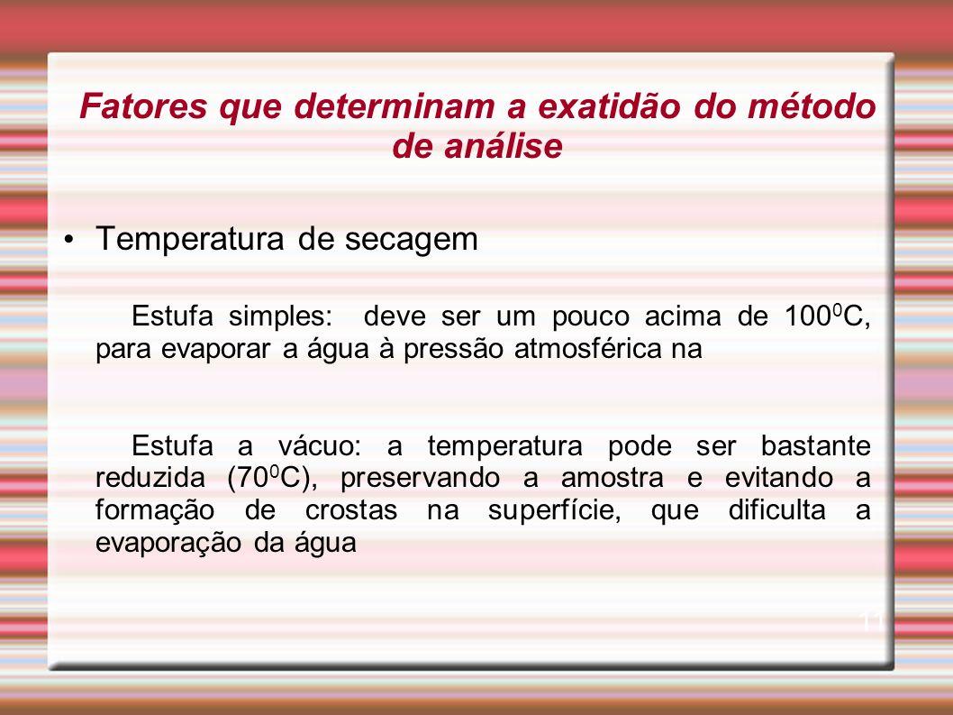 Fatores que determinam a exatidão do método de análise