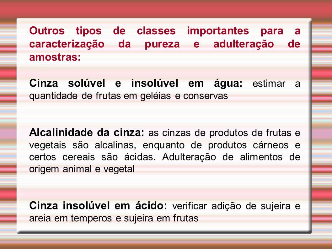 Outros tipos de classes importantes para a caracterização da pureza e adulteração de amostras: