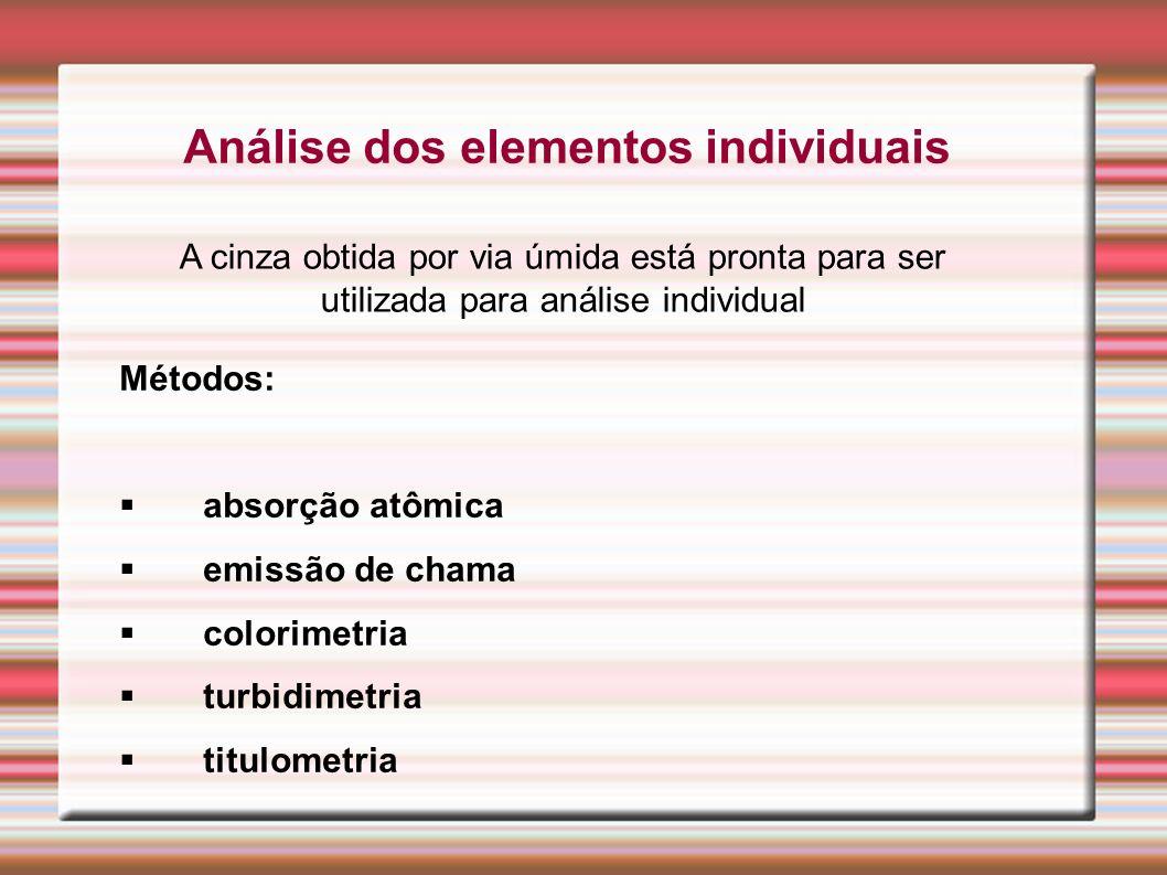 Análise dos elementos individuais
