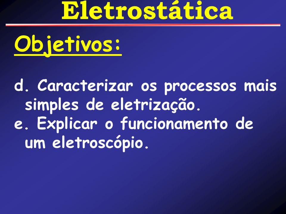 Objetivos: d. Caracterizar os processos mais simples de eletrização.