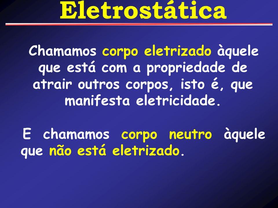 Eletrostática Chamamos corpo eletrizado àquele que está com a propriedade de atrair outros corpos, isto é, que manifesta eletricidade.