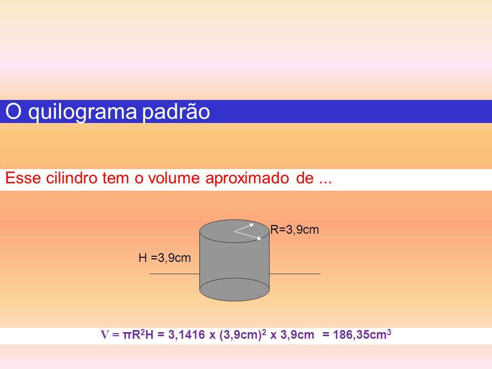 O quilograma padrão Esse cilindro tem o volume aproximado de ...