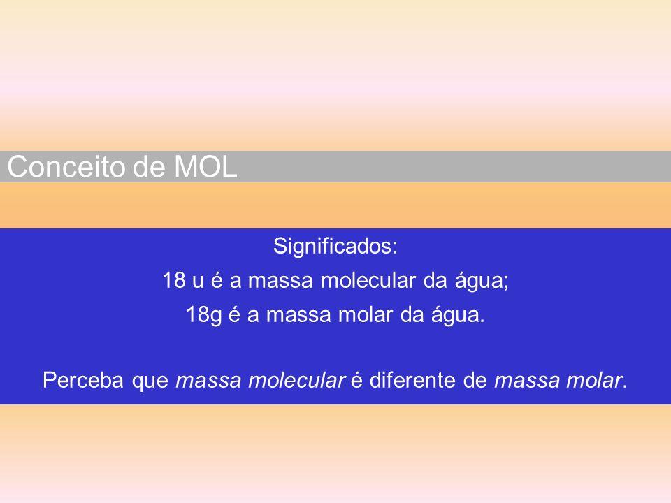 Conceito de MOL Significados: 18 u é a massa molecular da água;