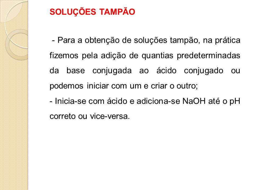 SOLUÇÕES TAMPÃO