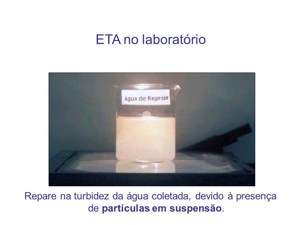 ETA no laboratórioRepare na turbidez da água coletada, devido à presença de partículas em suspensão.