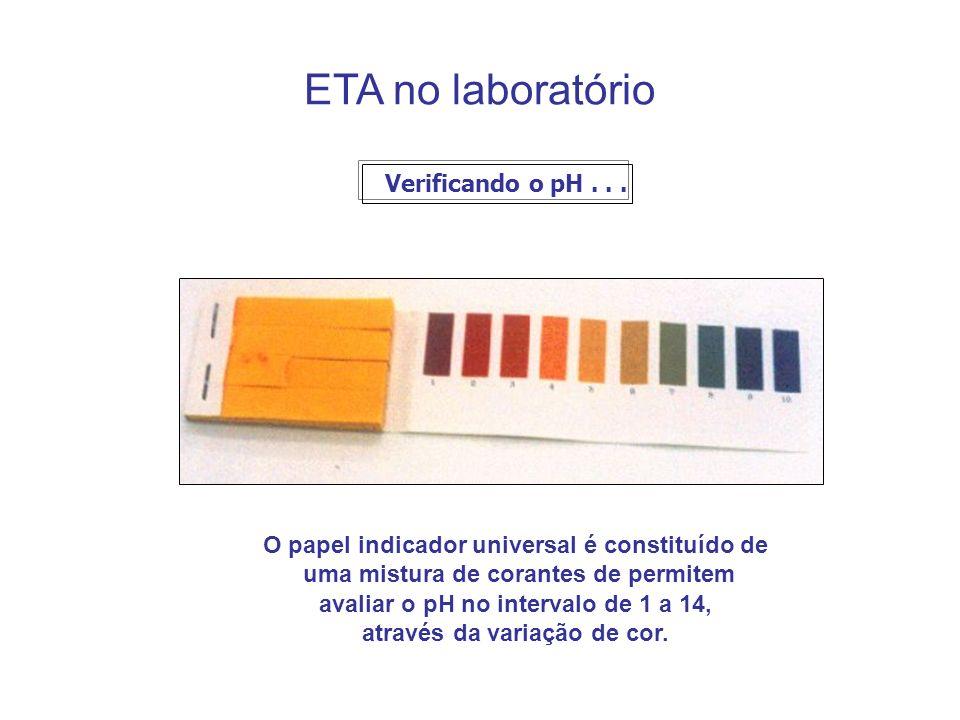 ETA no laboratório Verificando o pH . . .