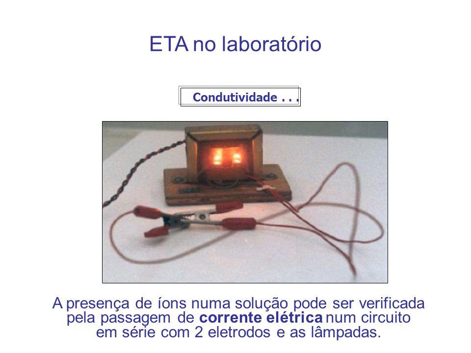 ETA no laboratório A presença de íons numa solução pode ser verificada
