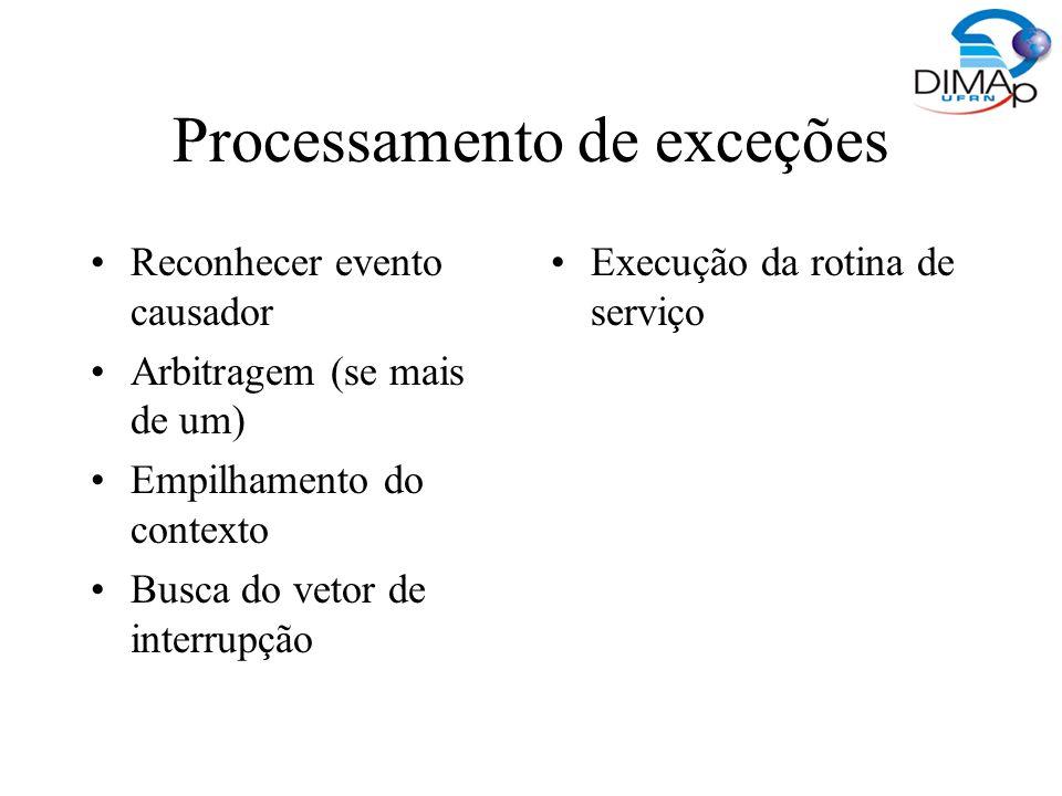 Processamento de exceções