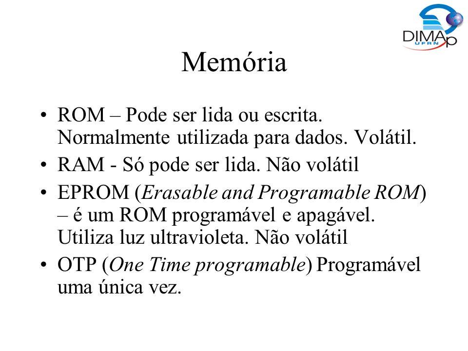 Memória ROM – Pode ser lida ou escrita. Normalmente utilizada para dados. Volátil. RAM - Só pode ser lida. Não volátil.