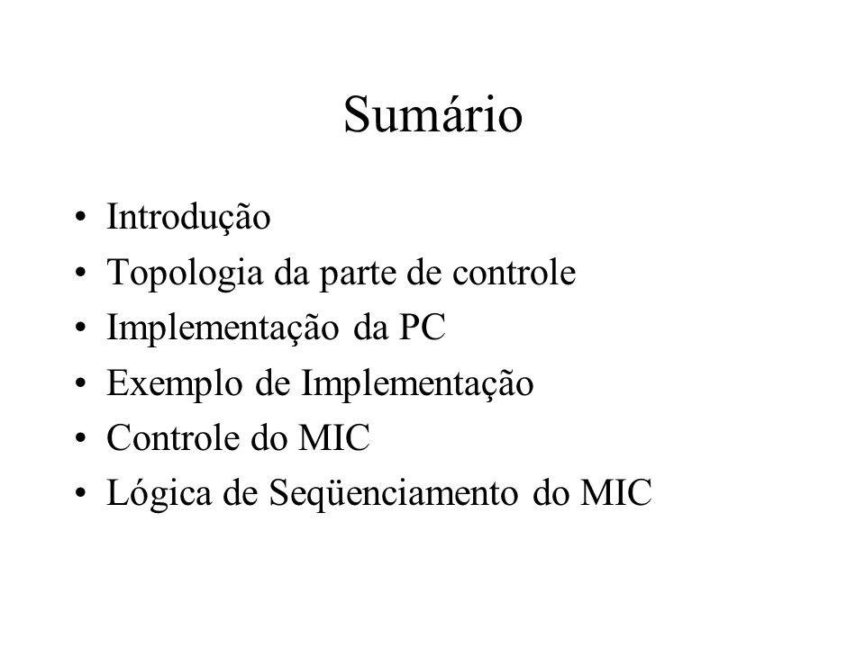 Sumário Introdução Topologia da parte de controle Implementação da PC