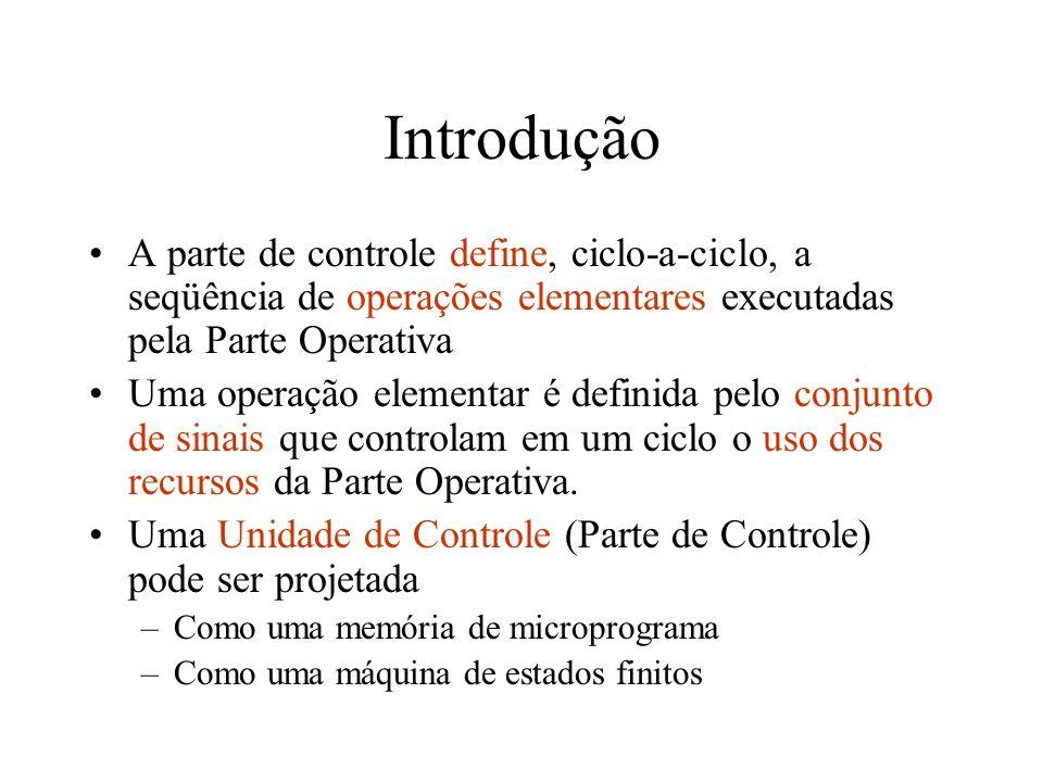 Introdução A parte de controle define, ciclo-a-ciclo, a seqüência de operações elementares executadas pela Parte Operativa.